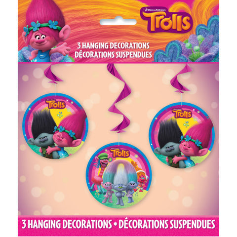 "Trolls Hanging Swirl Decorations, 26""L, 3ct."