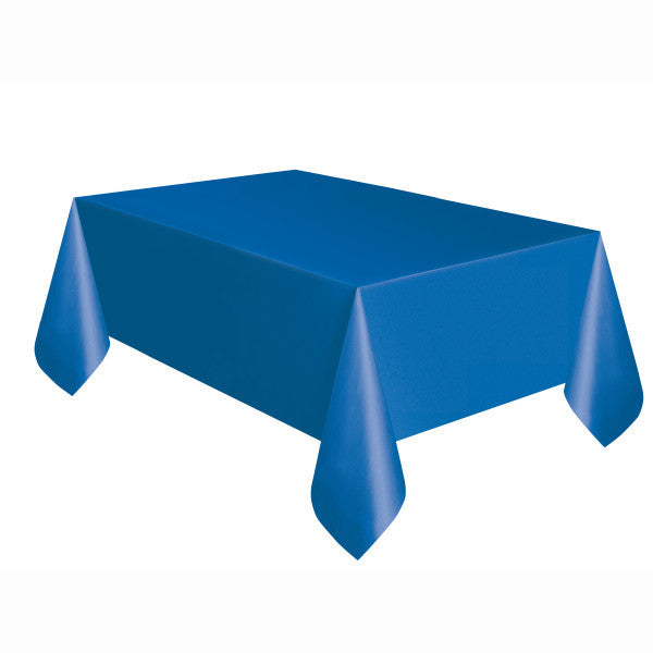 "Royal Blue Plastic Table Cover, 54""x108"""