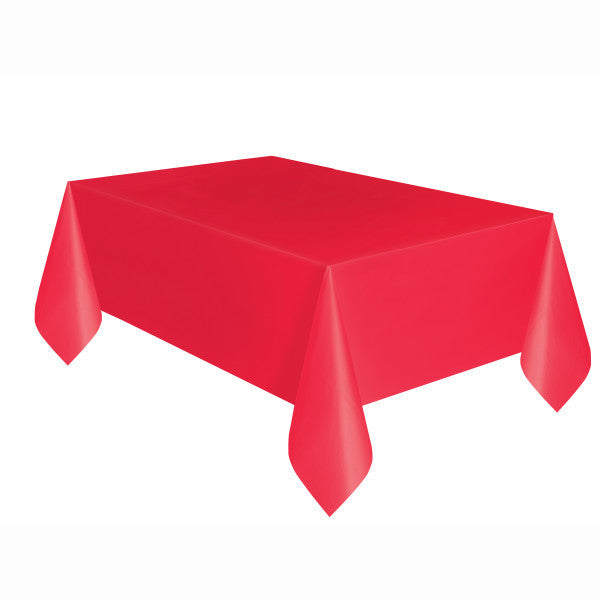"Ruby Red Plastic Table Cover, 54""x108"""