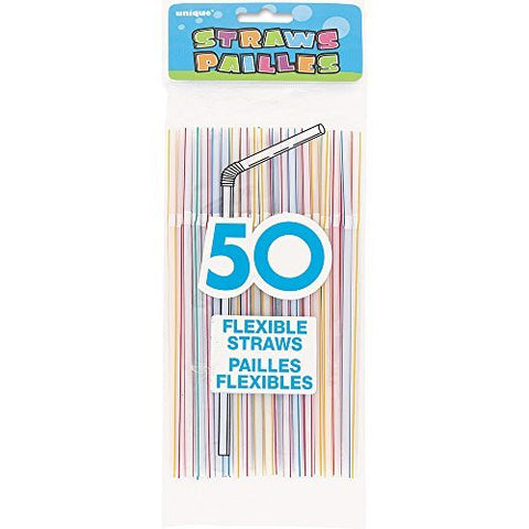 Flexible Striped Plastic Straws Assorted - Sakura Toyland, Inc
