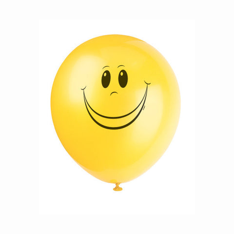 "Happy Face Yellow Color Latex 12"" Balloons, 8ct."