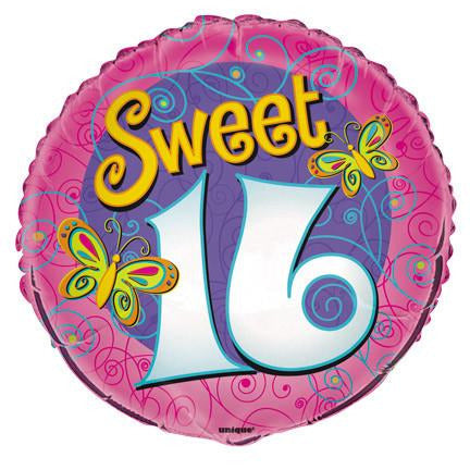 Sweet 16th Butterflies Foil Balloon - Sakura Toyland, Inc