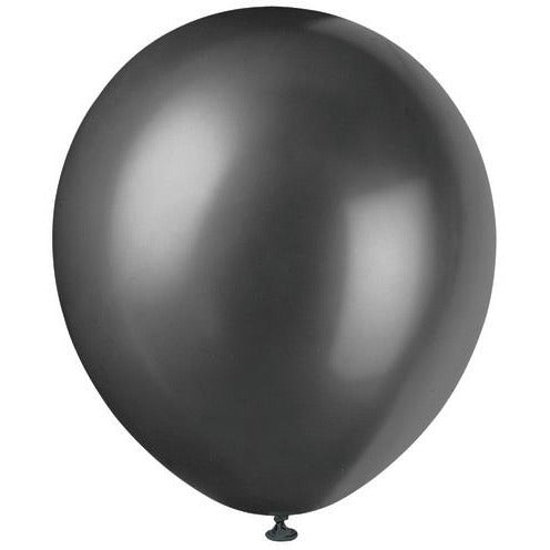 "Black Color Latex 12"" Balloons, 8ct."