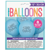 "Blue Baby Shower 12"" Latex Balloons, 8ct"
