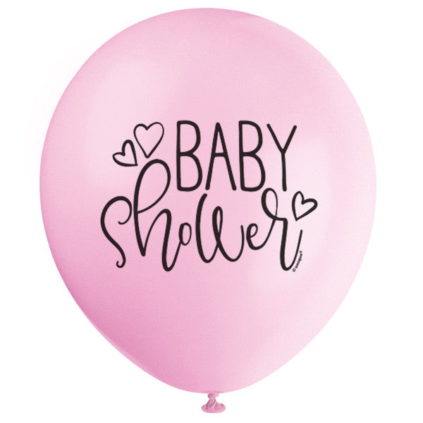 "Petal Pink Baby Shower 12"" Latex Balloons, 8ct"