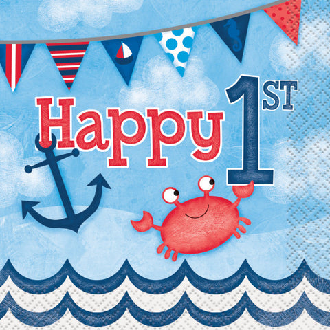 Little Sailor Nautical First Birthday Beverage Napkins, 16ct