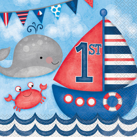Little Sailor Nautical First Birthday Luncheon Napkins, 16ct
