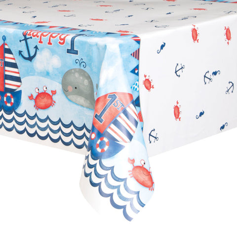 "Little Sailor Nautical First Birthday Rectangular Plastic Table Cover, 54""x84"""
