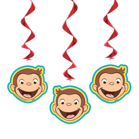 "Curious George Hanging Swirl Decorations, 26"", 3ct"