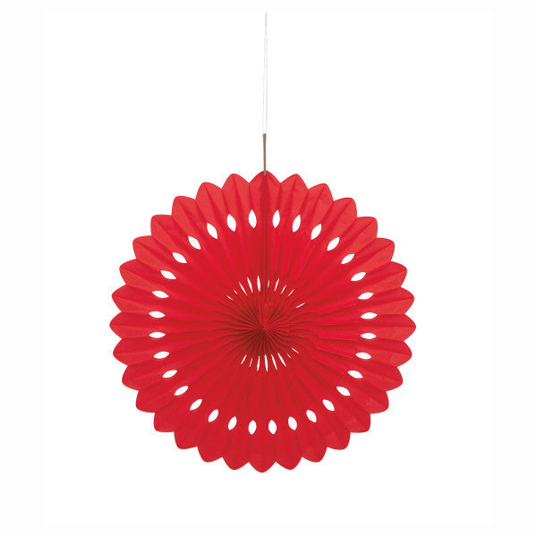 "Ruby Red Solid 16"" Tissue Paper Fan"
