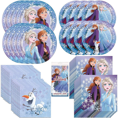 Frozen 2 Movie Party Bundle, Plates, Napkins, Table Cover