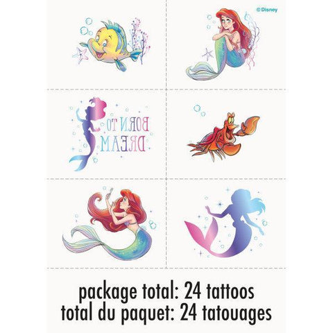 Disney The Little Mermaid Tattoos, 24ct