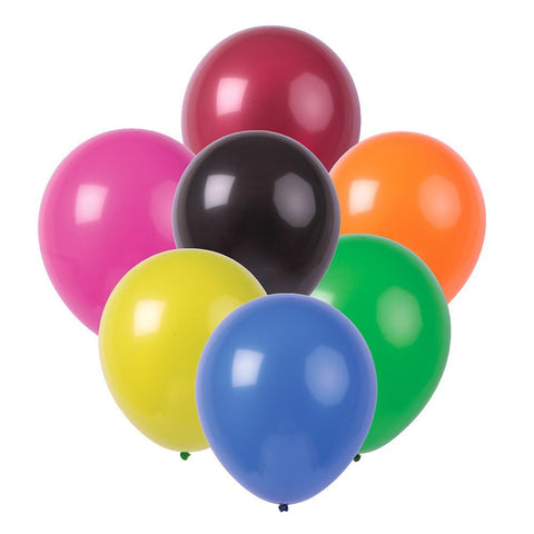 "Solid Multicolored 12"" Latex Balloons 50-Pack"