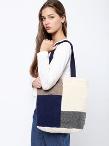 Color Block Faux Fur Shoulder Bag