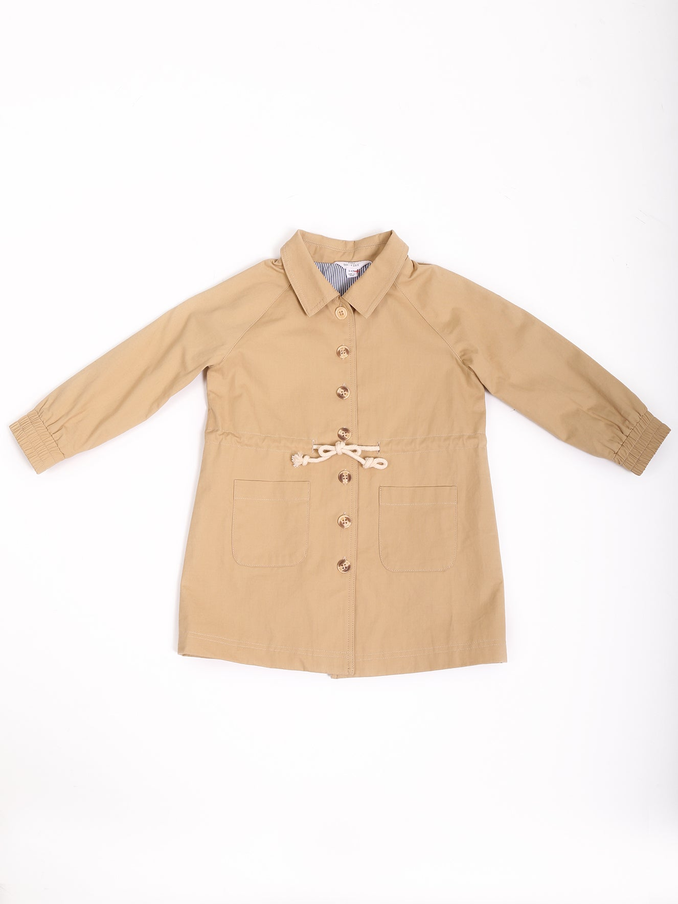 Waist Drawstring Detail Coat