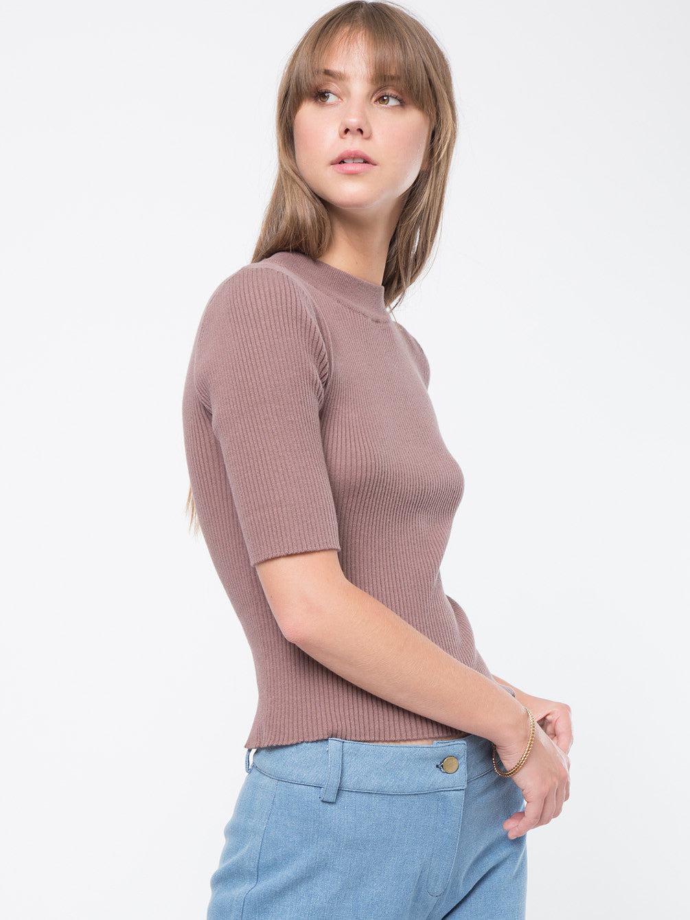 Ribbed Mock Neck Short Sleeve Sweater Top