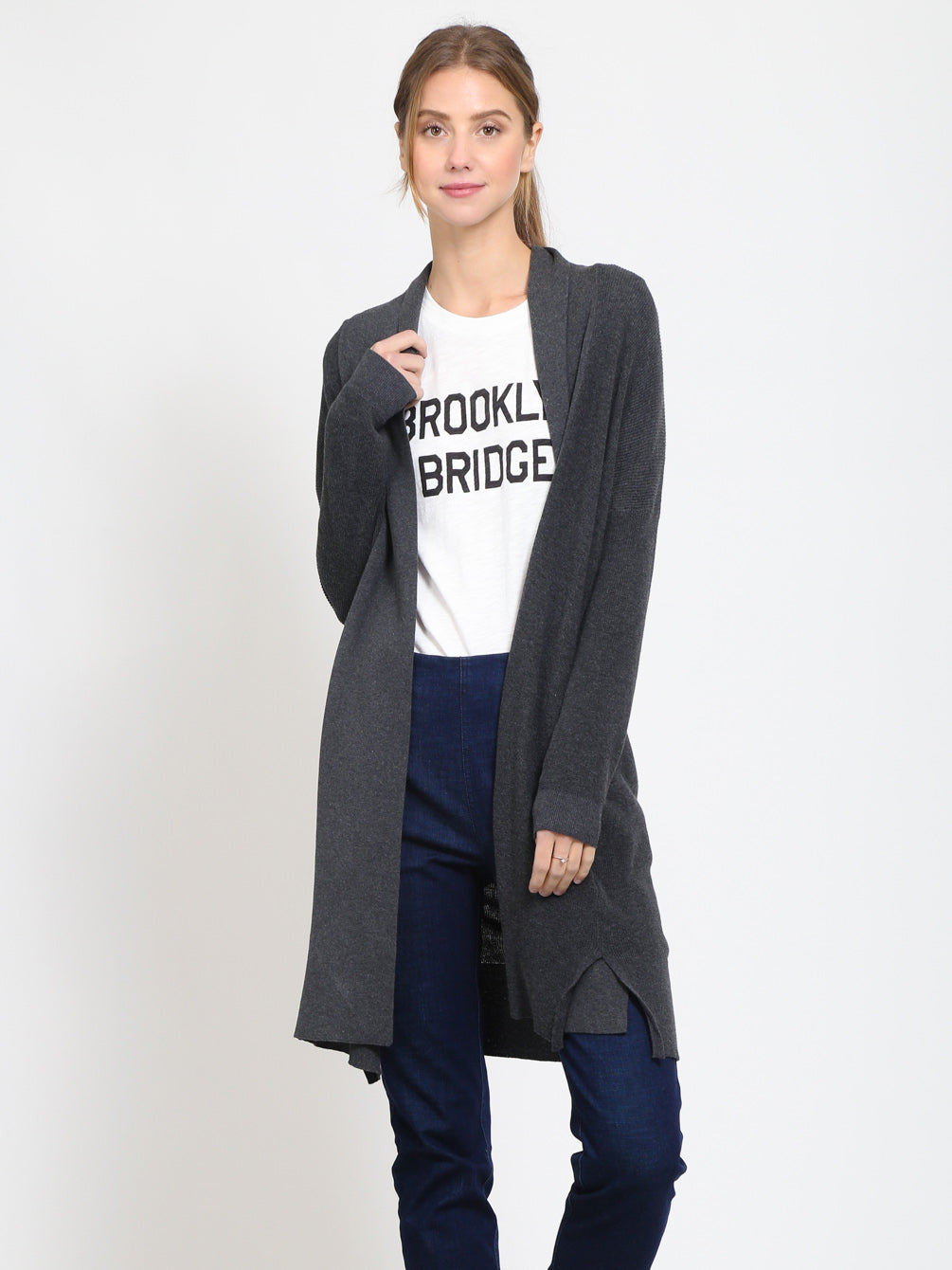Drop Shoulder Shawl Collar Detailed Cardigan