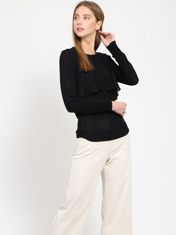Contrast Ruffle Detail Sweater