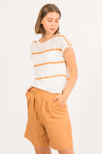 Belen Orange Striped Knit Top
