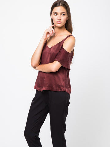 Satin Cold Shoulder Cami Top