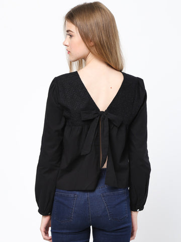 Pleat Front Open Back With Tie Detailed Top