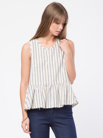 Raw Edge Hem Peplum Top
