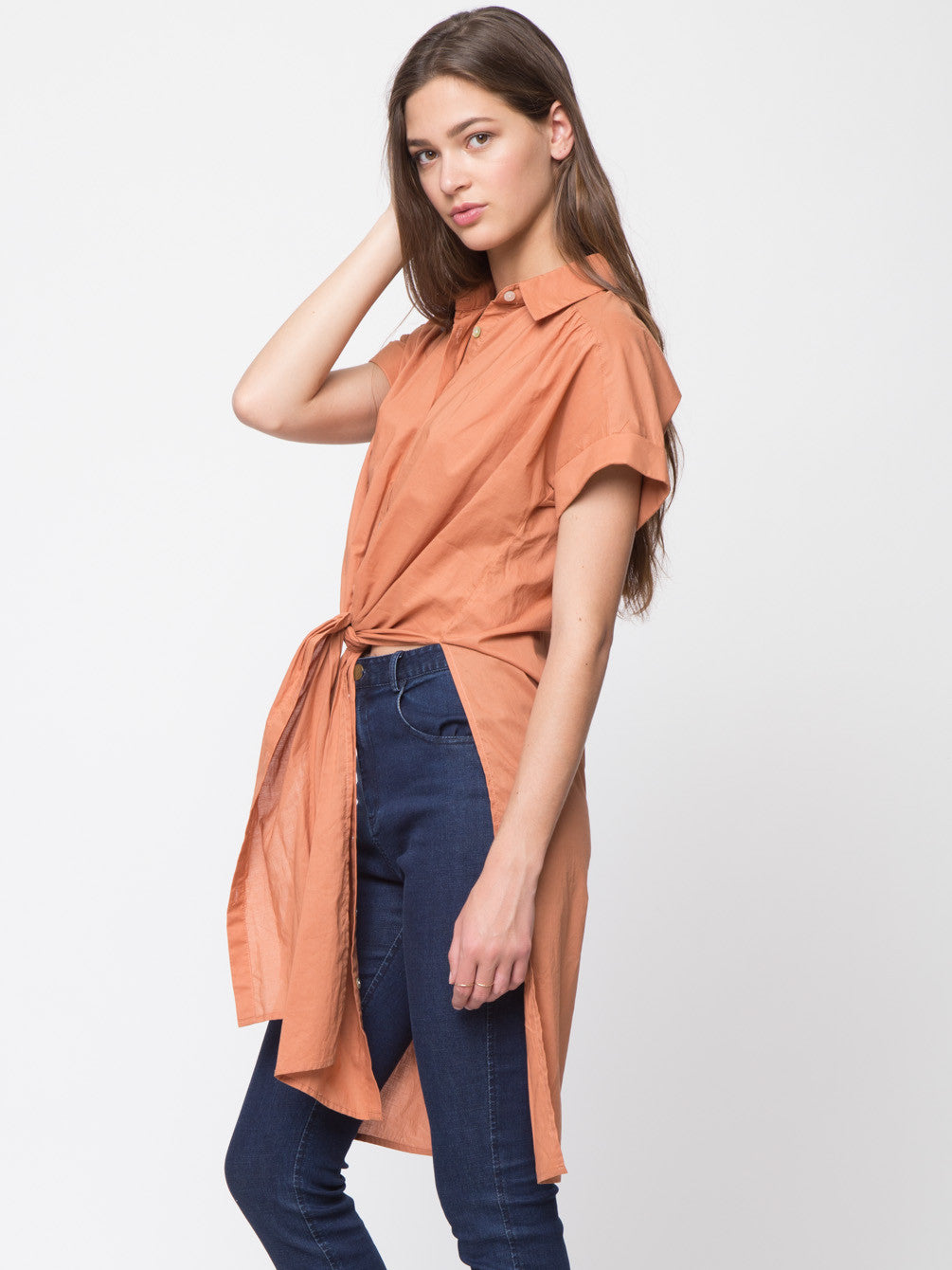 Long Side Slit Detailed Button Down Shirt Top