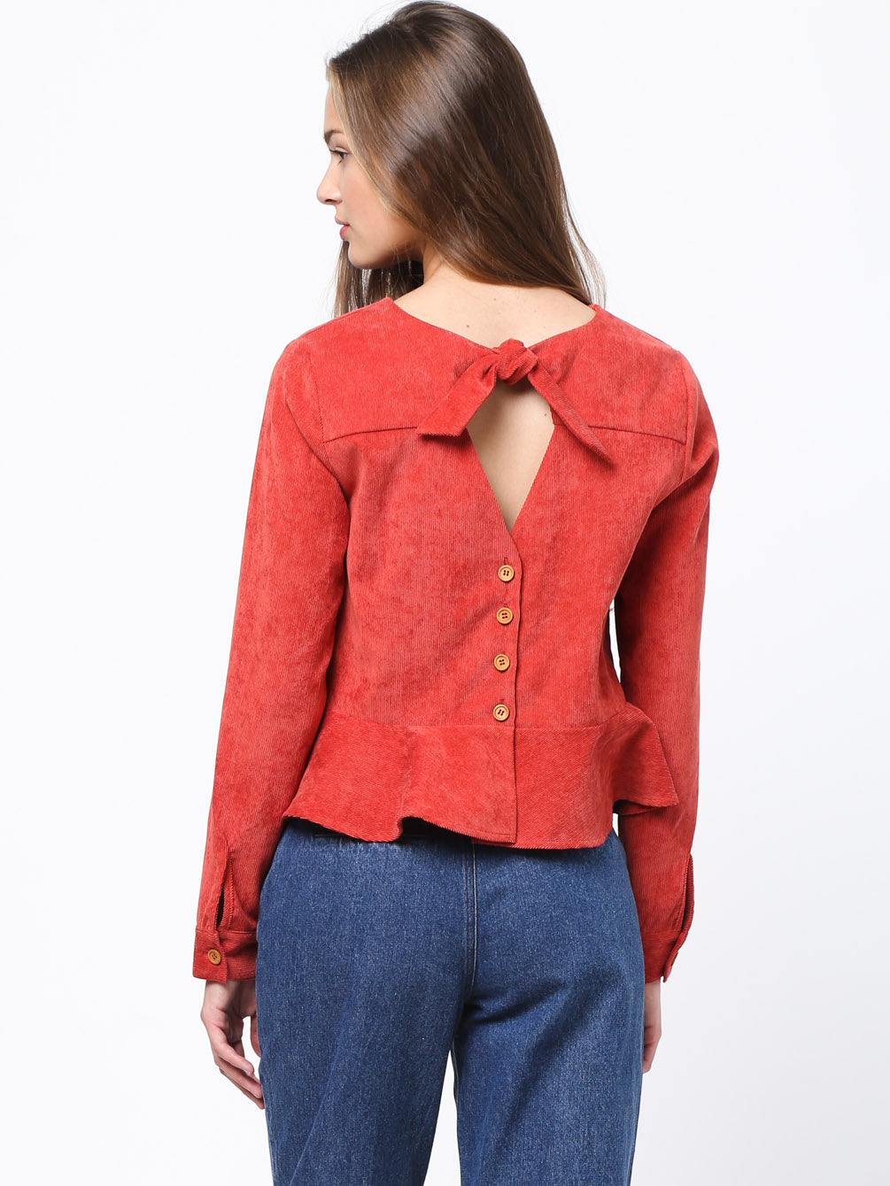 Back Neck Knot Detailed Peplum Top