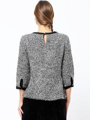 Cont Neck Peplum Top
