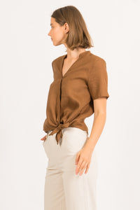 MONIQUE LINEN WRAP BLOUSE