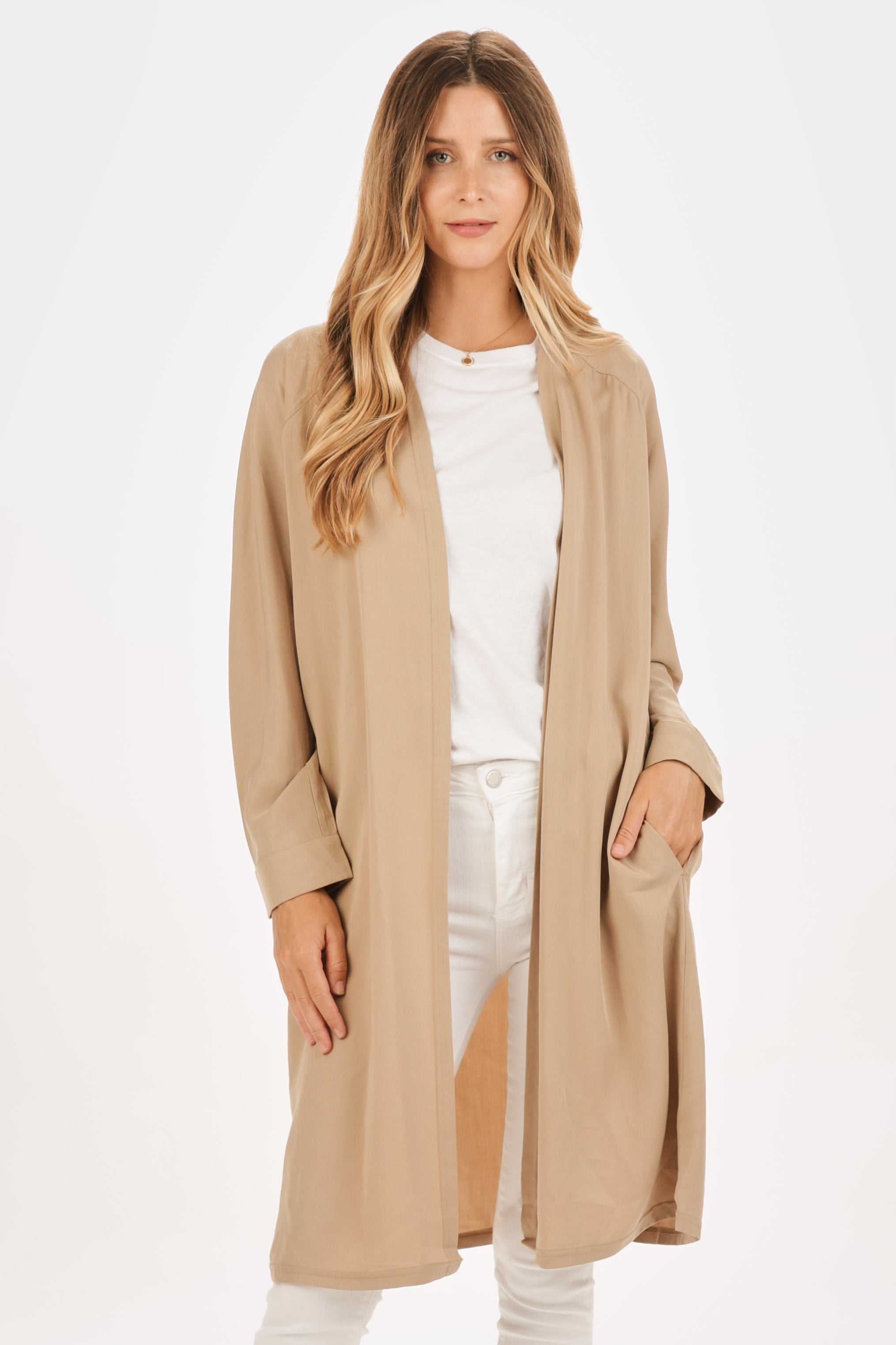 Heathered Open-Front Coat