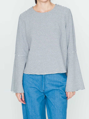 Striped Top with Flowy Sleeves