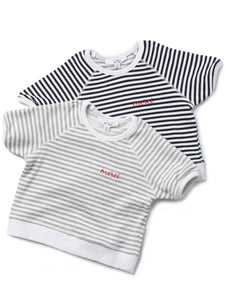 (Kids) Striped Short Sleeve Reglan T-shirt