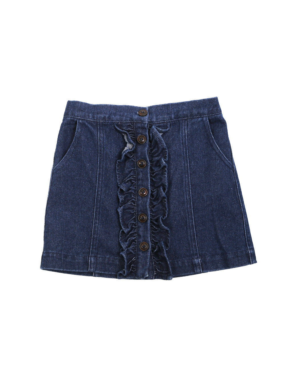 (Kids) Ruffle Detail Button Down A-line Skirt
