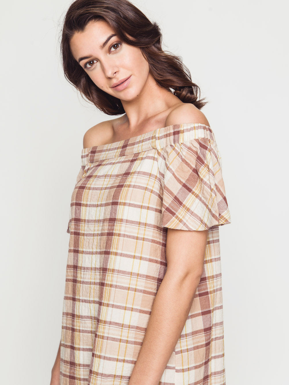 Off the shoulder ruffle detailed dress