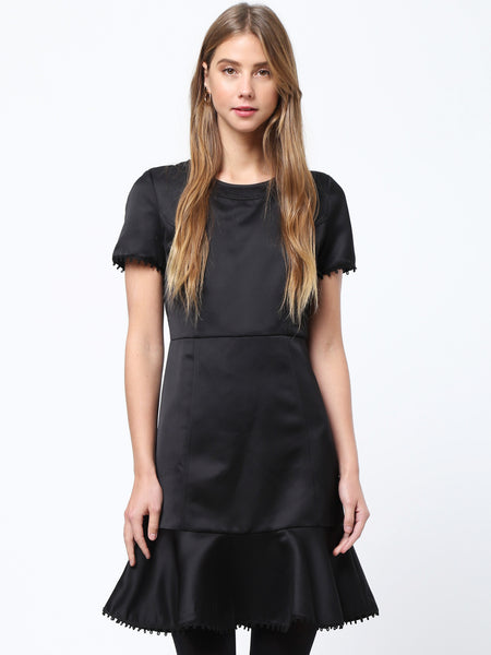 Ruffled Hem Trim Dress