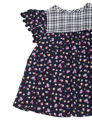 (Kids) Ruffle Sleeve With Pompom Trim Dress