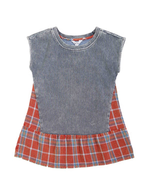 (Kids) Mixed Plain Contrast Dress
