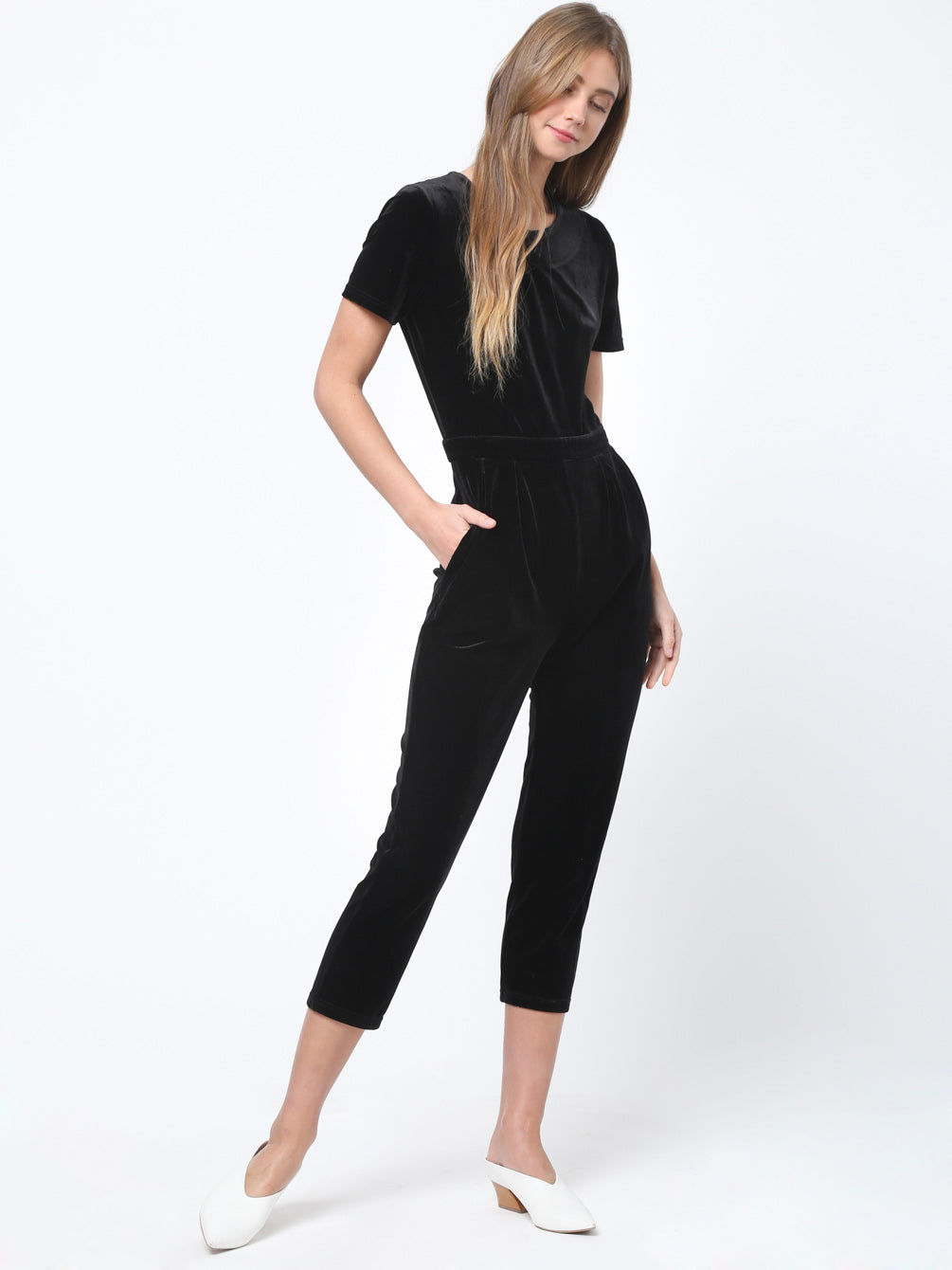 Velvet Waist Band Detailed Jumpsuit