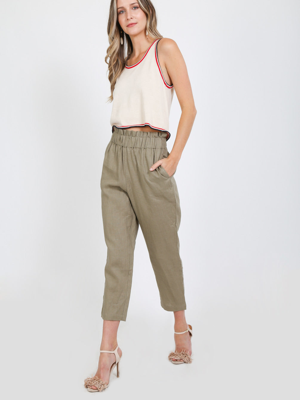High Waist Elastic Band Pants