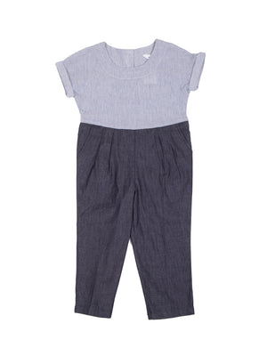 (Kids) Drop Shoulder Contrast Detail Jumpsuit