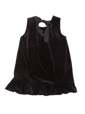 (Kids) Velvet Ruffle Hem Dress