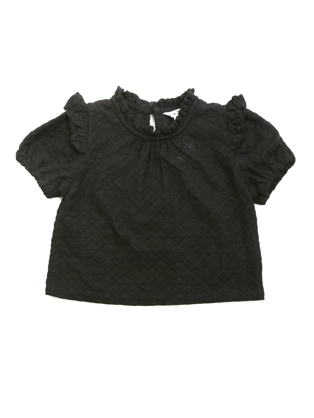 (Kids) Short Puff Sleeve Ruffle Detail Top