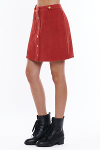 CORDUROY BUTTONED MINI SKIRT