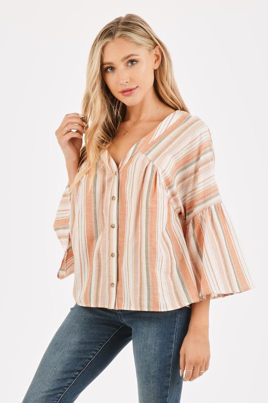 STRIPED BELL SLEEVE V-NECK