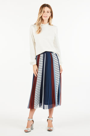 Avery Striped Midi Skirt