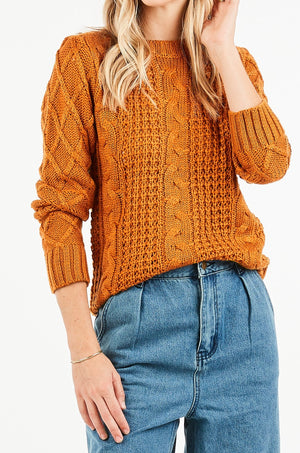 ANDREA MUSTARD CABLE KNIT TOP