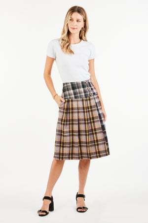 IVY PLAID MIDI SKIRT