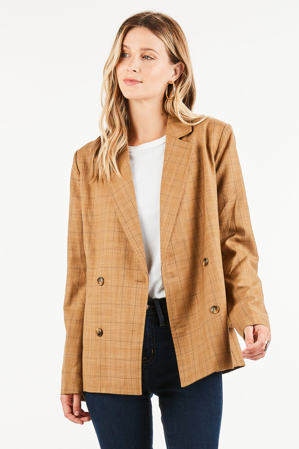 Delaney Checkered Blazer with Utility Belt Detail