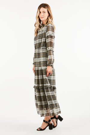 Nellie Plaid Midi Dress